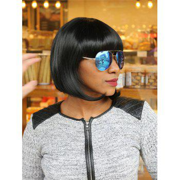 Adiors Full Bang Short Straight Bob Synthetic Wig - BLACK