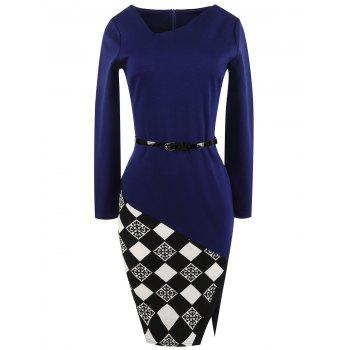 Plaid Trim Belted Bodycon Dress