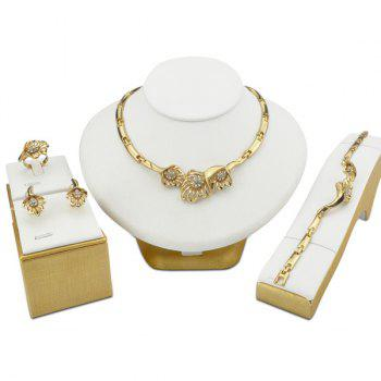 Hollowed Rhinestone Floral Jewelry Set