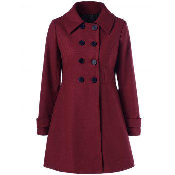 Wool Double Breasted Skirted Overcoat