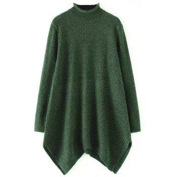 A Line Asymmetric Mock Neck Sweater