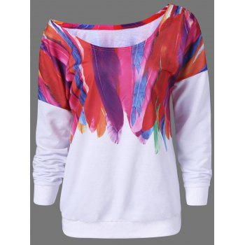 Skew Neck Feather Graphic Sweatshirt