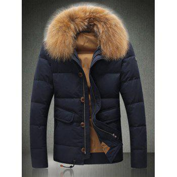 Faux Fur Trim Single Breasted Drawstring Down Jacket