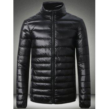 Stand Collar Slimming Zip Up Down Jacket