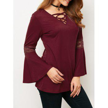 Lace-Up Flare Sleeve Loose T-Shirt