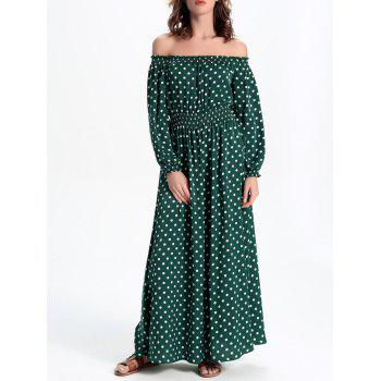 Polka Dot Off-The-Shoulder Casual Maxi Dress