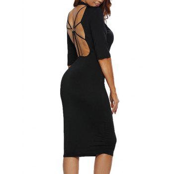 Open Back Bodycon Criss Dress with Sleeves