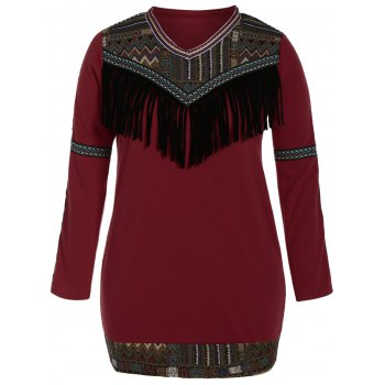 Plus Size Tribal Tassel Fleece Lined Dress