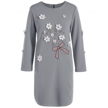 Plus Size Flower Insert Embroidery Dress