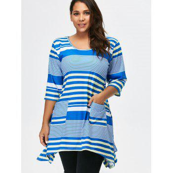Striped Asymmetric Tunic Tee With Pockets - BLUE 2XL