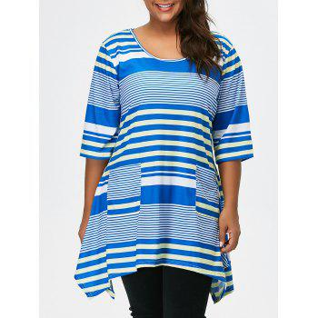 Striped Asymmetric Tunic Tee With Pockets
