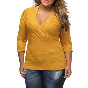 V Neck Plus Size Surplice Ribbed Sweater