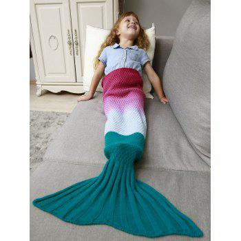 Ombre Crochet Knit Mermaid Chunky Blanket Throw For Kids - DEEP PINK DEEP PINK