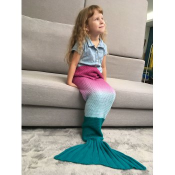 Ombre Chunky Crochet Knit Mermaid Blanket Throw For Kids - DEEP PINK