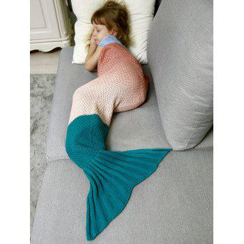 Ombre Chunky Crochet Knit Mermaid Blanket Throw For Kids