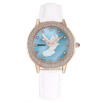 Rhinestone Peace Dove Faux Leather Watch
