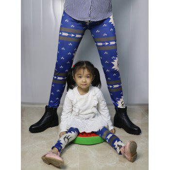 Mother Daughter Matching Christmas Leggings - BLUE L