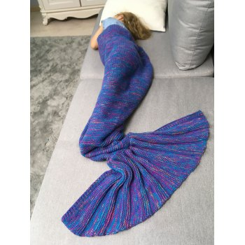 Mix Color Crochet Knit Mermaid Blanket Throw For Kids - DEEP PURPLE