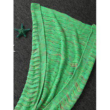 Hollow Out Wave Striped Crochet Yarn Mermaid Blanket Throw - LIGHT GREEN