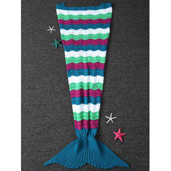 Color Block Wave Striped Crochet Knit Mermaid Blanket Throw