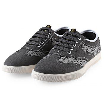 Suede Letter Print Lace-Up Casual Shoes