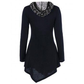 Lace-Up Asymmetrical Long Sleeve Hooded T-Shirt - BLACK L