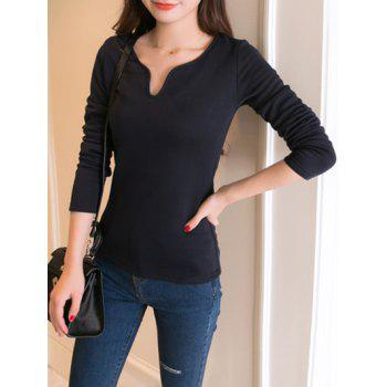 Fitted Notched Neck Fleece Lining Top