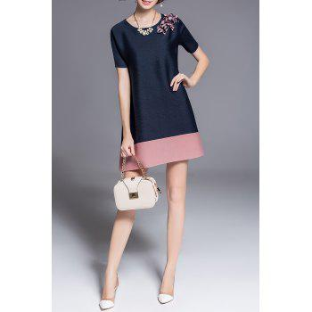 Stereo Floral Color Block Mini Dress - BLACK ONE SIZE