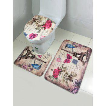 3Pcs Rose Tower Lid Toilet Cover Pedestal Rug Floor Carpet Set