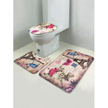 3Pcs Rose Tower Lid Toilet Cover Pedestal Rug Floor Carpet Set -  COLORMIX