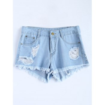 Light Wash Ripped Rivet Denim Shorts