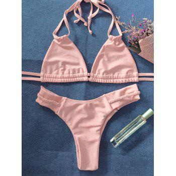 Halter Crossover String Bikini Set