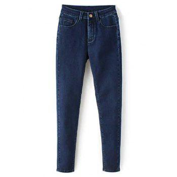 Zip Fly High Waisted Skinny Jeans - DEEP BLUE L