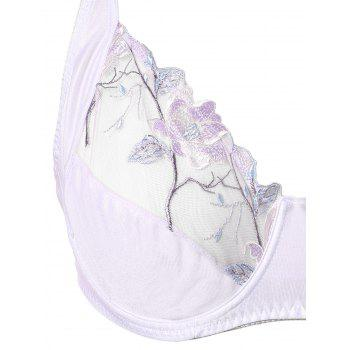Plus Size Padded Lace Embroidery Bra - WHITE WHITE
