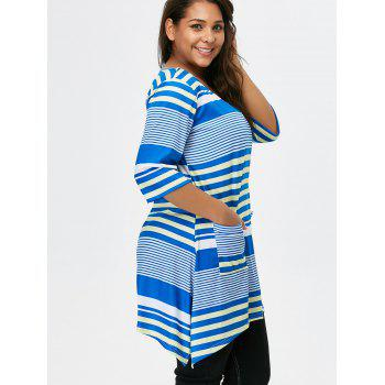 Striped Asymmetric Tunic Tee With Pockets - BLUE XL