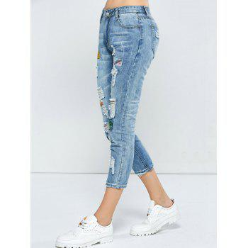 Patched Capri Distressed Jeans Outfits - LIGHT BLUE 31