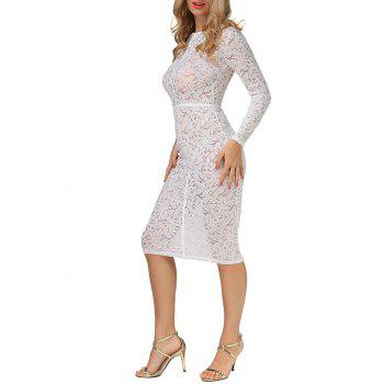 Sheer Bodycon Long Sleeve Long Tight Lace Sheath Dress - WHITE XL