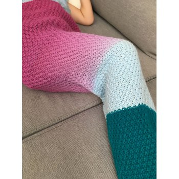 Ombre Crochet Knit Mermaid Chunky Blanket Throw For Kids - DEEP PINK
