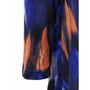 Plus Size Tie-Dye Asymmetrical Tee - BLUE 3XL