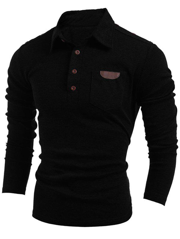 Long Sleeve Buttoned Pocket T-Shirt - BLACK L