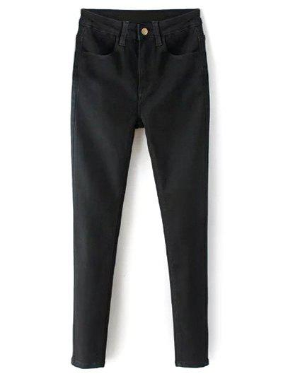 Zip Fly High Waisted Black Skinny Jeans - BLACK S