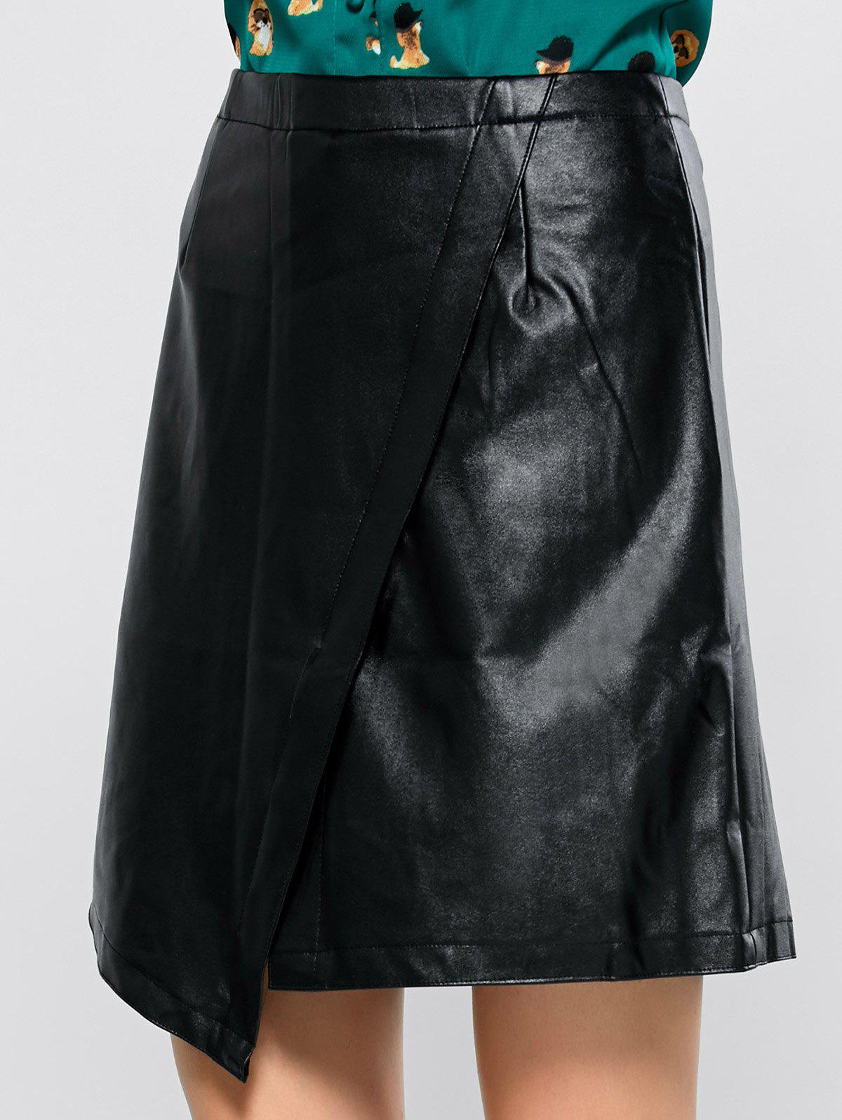 asymmetric faux leather skirt black s in skirts