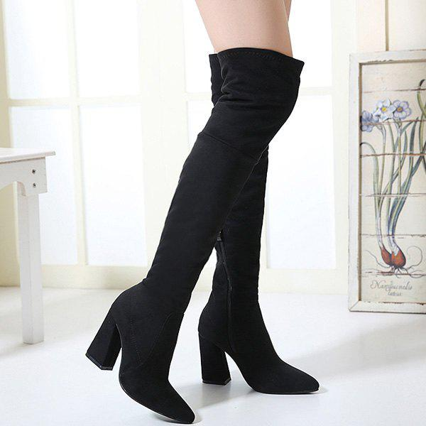 Chunky Heel Zipper Pointed Toe Thigh Boots - BLACK 37