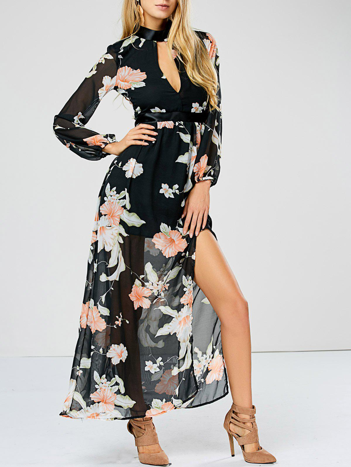 Keyhole Slit Floral Sheer Swing DressWomen<br><br><br>Size: L<br>Color: FLORAL