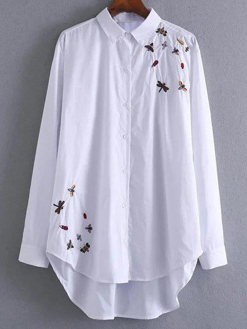 Button Up High Low Insects Embroidered Shirt