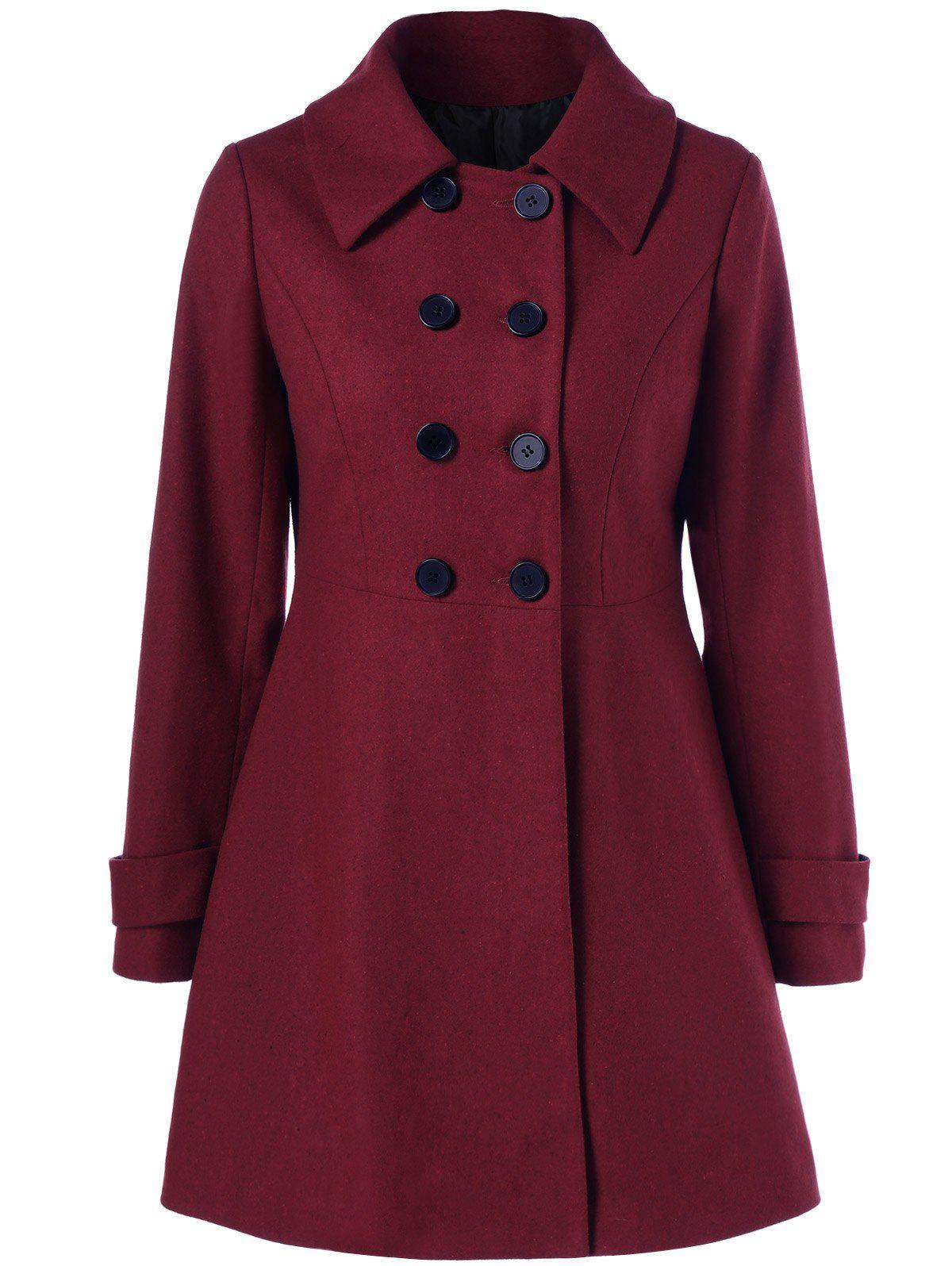 Wool Double Breasted Skirted Overcoat - WINE RED L