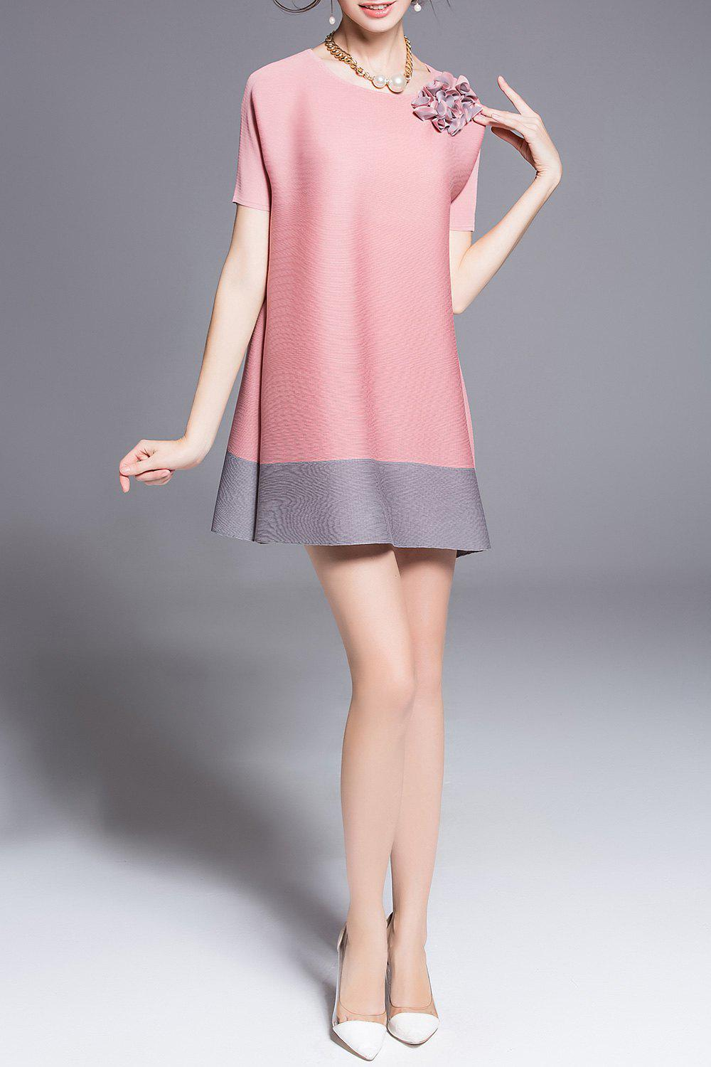 Stereo Floral Color Block Mini Dress - PINK ONE SIZE