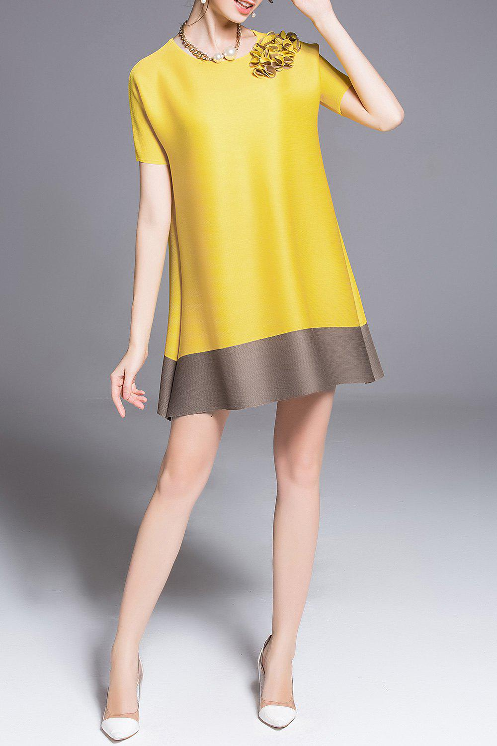 Stereo Floral Color Block Mini Dress - YELLOW ONE SIZE