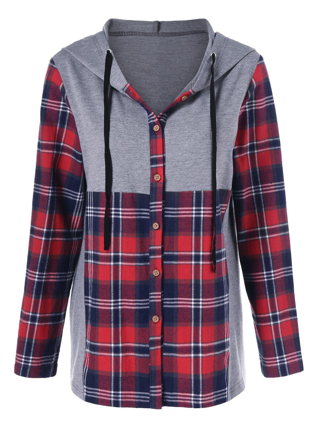 plaid trim button up hoodie gray red l in sweatshirts. Black Bedroom Furniture Sets. Home Design Ideas