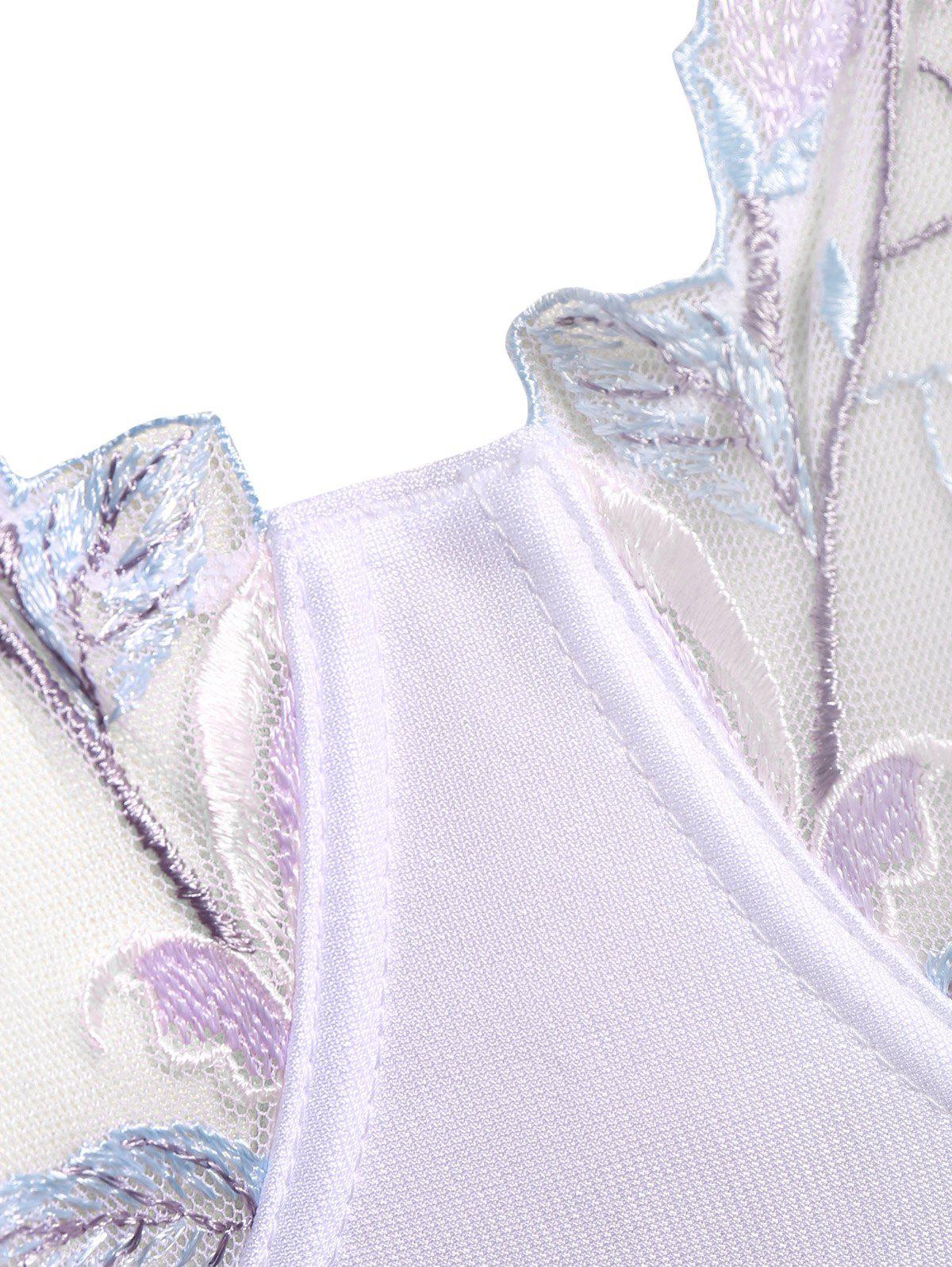 Plus Size Padded Lace Embroidery Bra - WHITE 80D